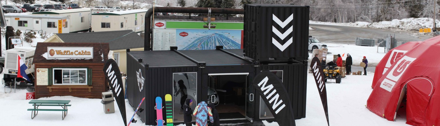 Mini Cooper Showroom with Steel Containers