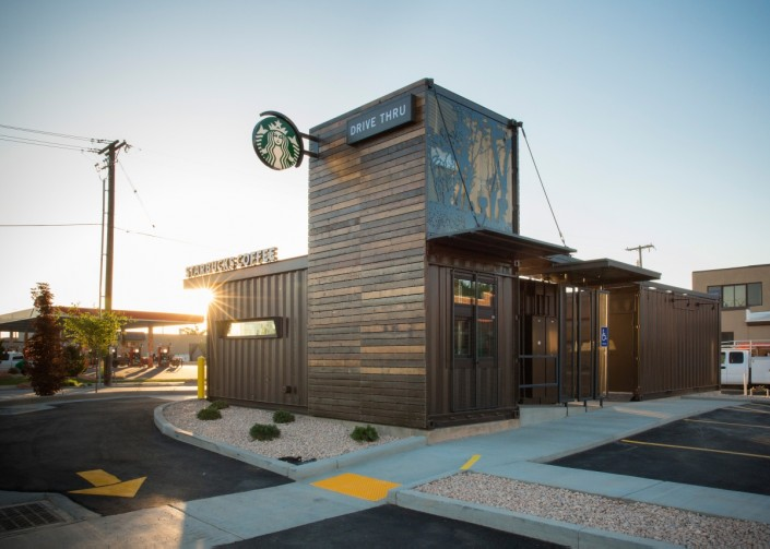 Starbucks Shipping Container Drive Thru in the Morning