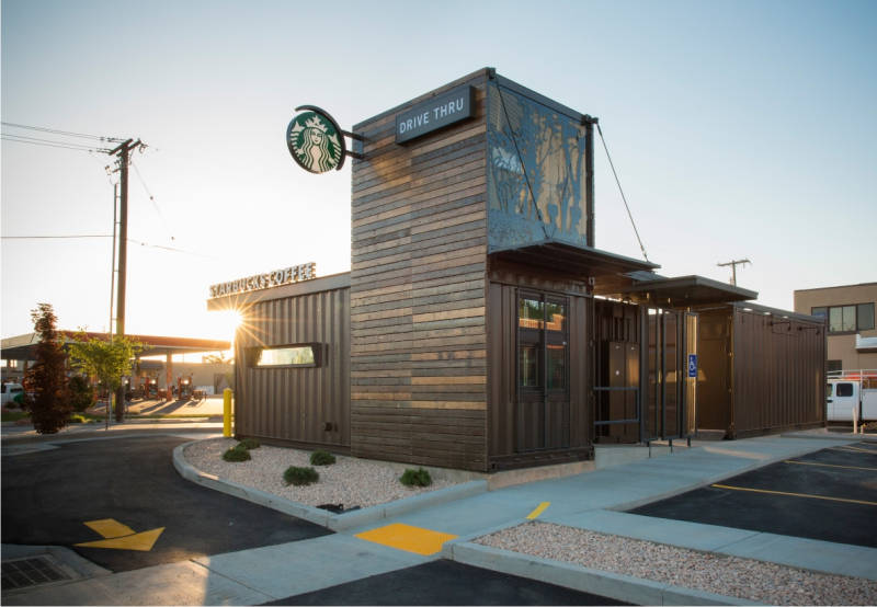 Starbucks Drive Thru Shipping Containers From Cgi